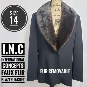 INTERNATIONAL CONCEPTS Faux Fur Collared Blazer